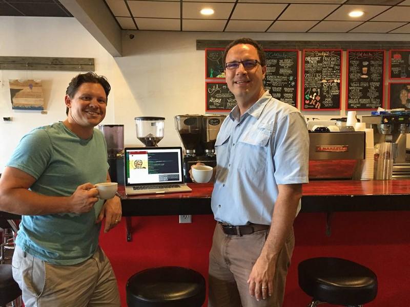 Chad and Devin, releasing the app at the local coffee shop